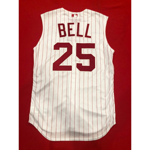 Photo of David Bell -- Game-Used 1995 Throwback Jersey & Pants -- D-backs vs. Reds on Sept. 8, 2019 -- Jersey Size 44 / Pants Size 34-36-33