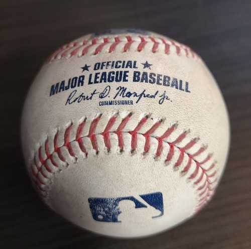 Photo of Authenticated Game Used Baseball: Strikeout by Wilmer Font against Michael Brantley (Sept 1, 19 vs HOU). Top 1. Justin Verlander recorded his 3rd Career No Hitter in the Game.
