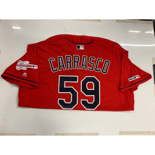 Photo of Carlos Carrasco 2019 Team Issued Alternate Home Jersey with ASG Patch