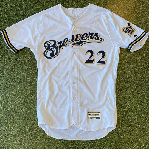 Photo of Game-Used Jersey: Christian Yelich #22 2018 Home White (9/18)