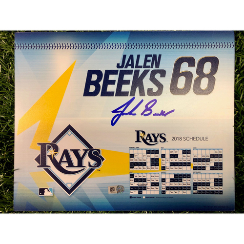 Photo of Game Used Autographed Locker Tag: Jalen Beeks - Rookie Season - September 27, 2018 v NYY