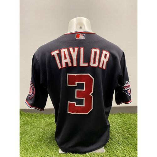 Photo of Michael A. Taylor 2020 Game-Used World Series Champions Navy Script Jersey