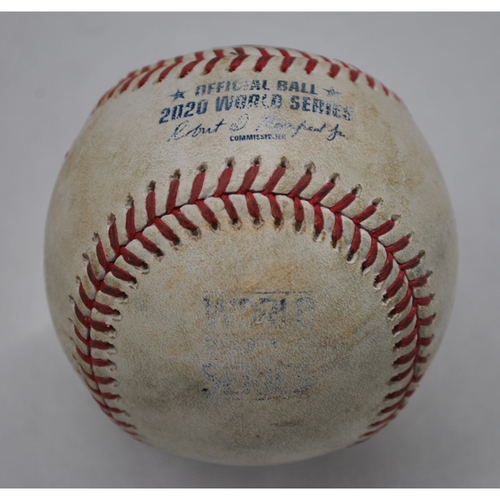 Photo of Game-Used Baseball - 2020 World Series - Tampa Bay Rays vs. Los Angeles Dodgers - Game 1 - Pitcher: Clayton Kershaw, Batters: Yandy Diaz (Single to RF), Brandon Lowe (Popout to 3B), Randy Arozarena (Ball in Dirt) - Top 1