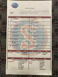 Photo of Salem Red Sox vs. Potomac Nationals Line Up Card