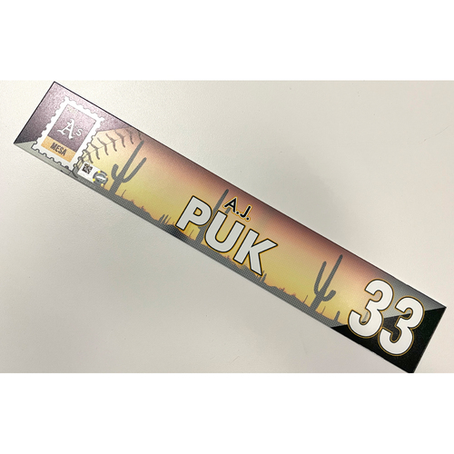 Photo of Game-Used 2021 Spring Training Locker Nameplate - A.J. Puk