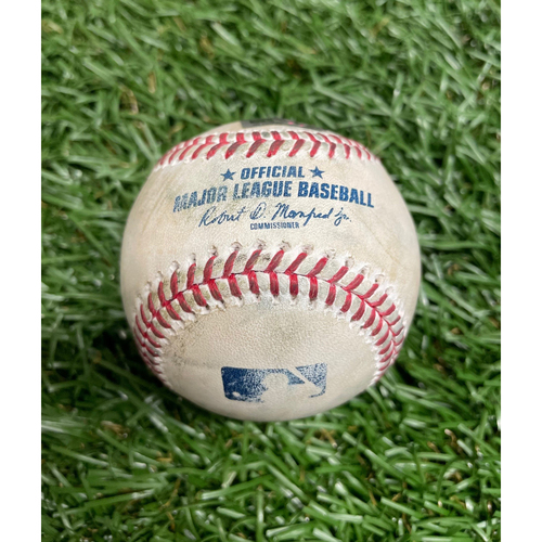 Photo of Game Used Baseball: Diego Castillo strikes out Isiah Kiner-Falefa - Top 9 - April 12, 2021 v TEX
