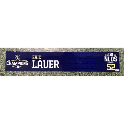 Photo of Eric Lauer 2021 Game-Used NLDS Locker Nameplate