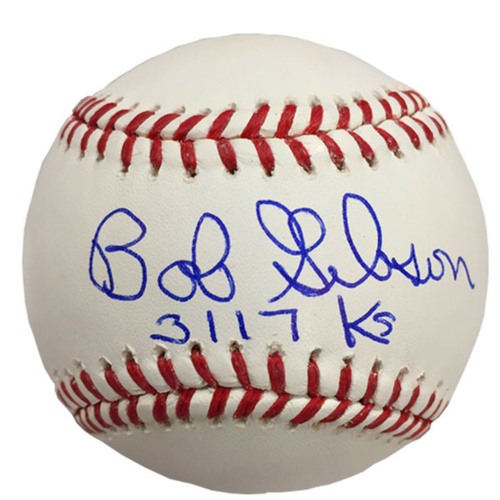 Cardinals Authentics: Bob Gibson Strikeout Inscribed Autographed Baseball