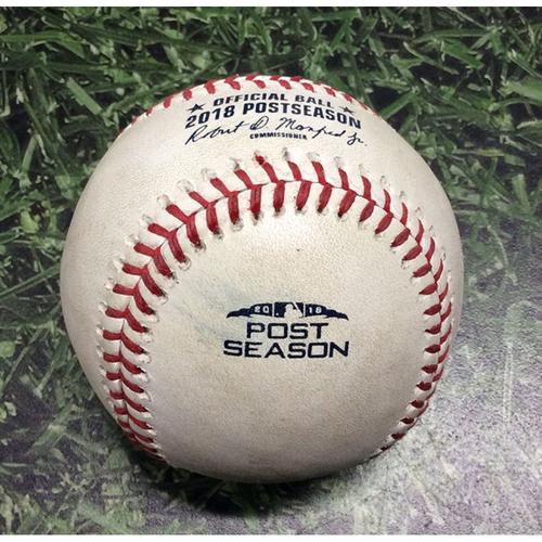 Photo of Game-Used Baseball NLDS Game 1 COL@MIL 10/04/18 - Antonio Senzatela - Christian Yelich: Groundout (Yelich's 1st Career Postseason At-Bat)