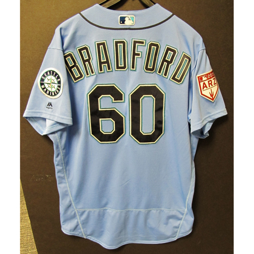 Photo of Chasen Bradford Game Used Light Blue Spring Training Jersey 2019  Exhibition Game - SD @ SEA 3-26-2019