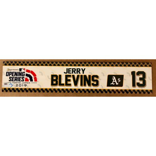 2019 Japan Opening Day Series - Game Used Locker Tag - Jerry Blevins -  Oakland Athletics
