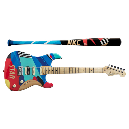 Photo of One-of-a-kind Artist-Painted Nationals Louisville Slugger Bat and Fender Stratocaster Guitar