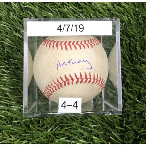 Win #4: 4/7/2019 Game-Used Baseball - Autographed by Anthony Rendon
