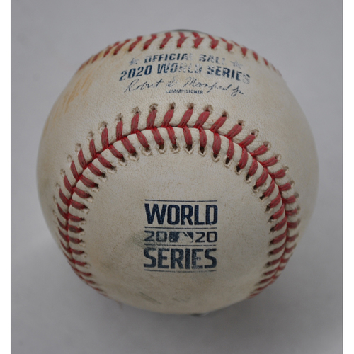 Photo of Game-Used Baseball - 2020 World Series - Tampa Bay Rays vs. Los Angeles Dodgers - Game 2 - Pitcher: Alex Woods, Batter: Yandy Diaz (Single to RF) - Top 7
