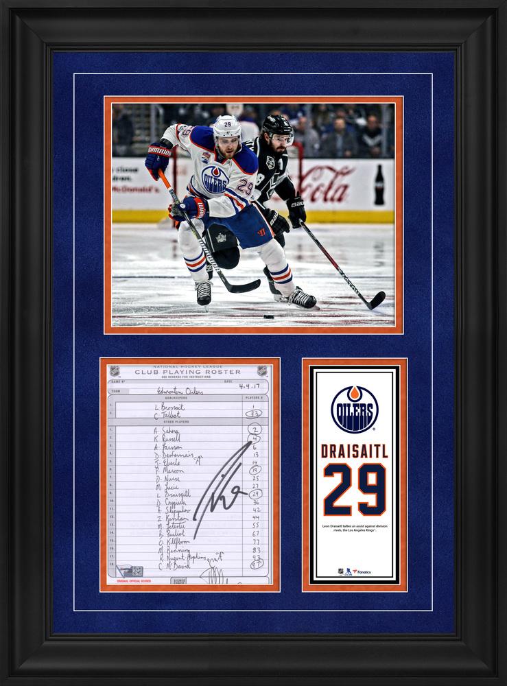 Leon Draisaitl Edmonton Oilers Framed Autographed Original Line-Up Card from April 4, 2017 vs. Los Angeles Kings - Assist vs. Los Angeles Kings