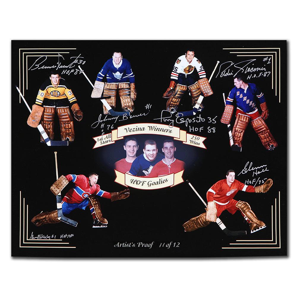 Original 6 HOF Goalies Autographed 16x20 Photo Signed By 6
