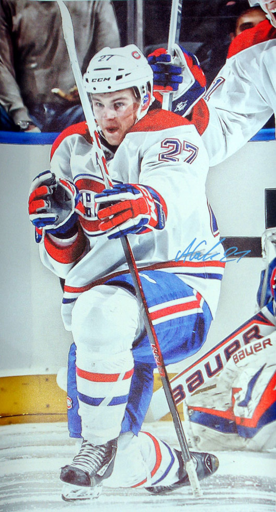Alex Galchenyuk - Signed 14x28 Canadiens White Celebration Canvas