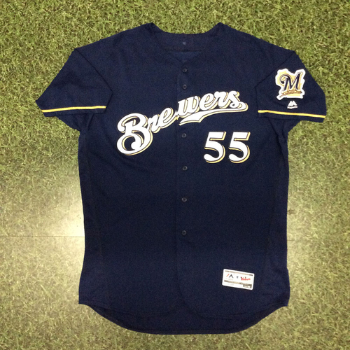 Photo of Marcus Hanel 2017 Game-Used Navy Alternate Jersey