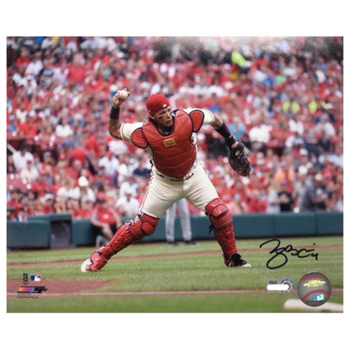 Photo of Cardinals Authentics: Yadier Molina Side Throw Autographed 8 x 10 Photo