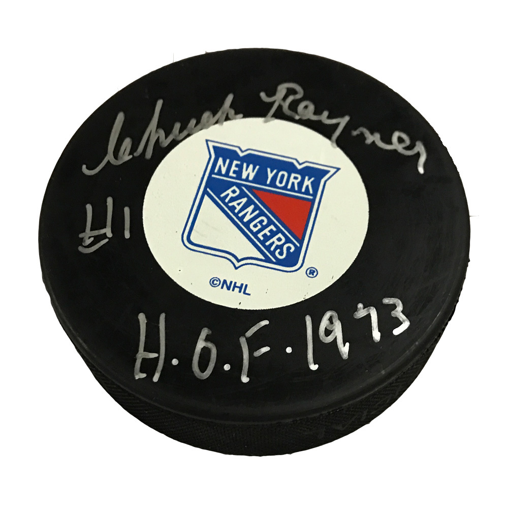 CHUCK RAYNER Signed New York Rangers Puck with HOF 73 Inscription