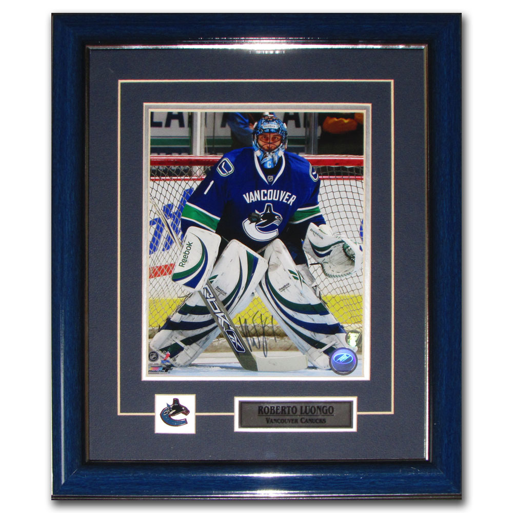 Roberto Luongo Autographed Vancouver Canucks Framed 8X10 Photo