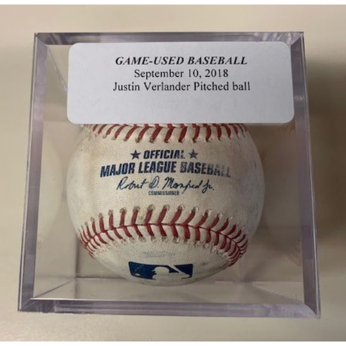 Photo of Game-Used Baseball: Justin Verlander Pitched Ball-Niko Goodrum Double