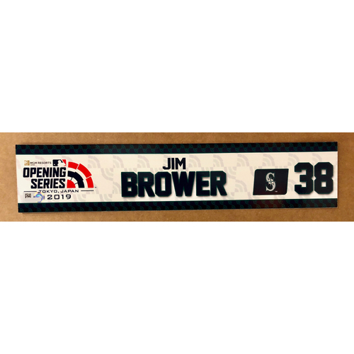 Photo of 2019 Japan Opening Day Series - Game Used Locker Tag - Jim Brower -  Seattle Mariners