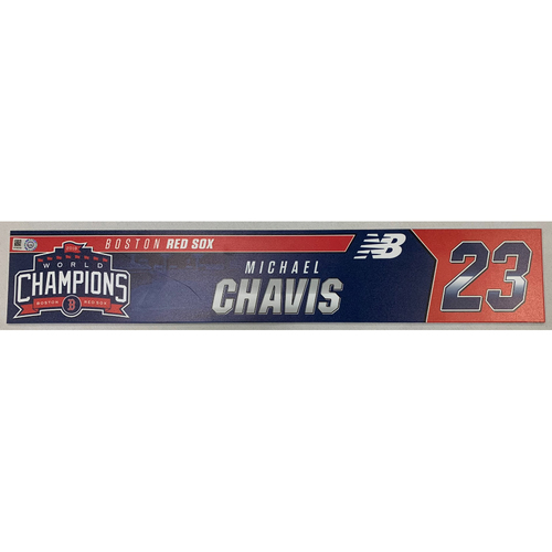 Photo of Michael Chavis Game Used June 9, 2019 Locker Tag