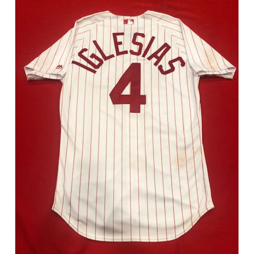 Photo of Jose Iglesias -- 1967 Throwback Jersey & Pants (Starting SS: Went 1-for-3, RBI) -- Game-Used for Rockies vs. Reds on July 28, 2019 -- Jersey Size: 42 / Pants Size: 34-36-19