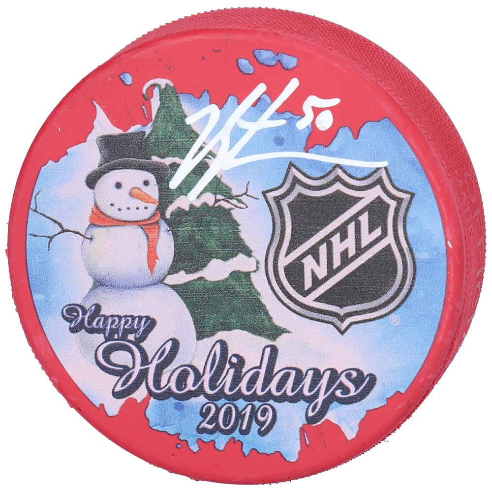 Jordan Binnington St. Louis Blues Autographed Inglasco 2019 Happy Holidays Hockey Puck - NHL Auctions Exclusive