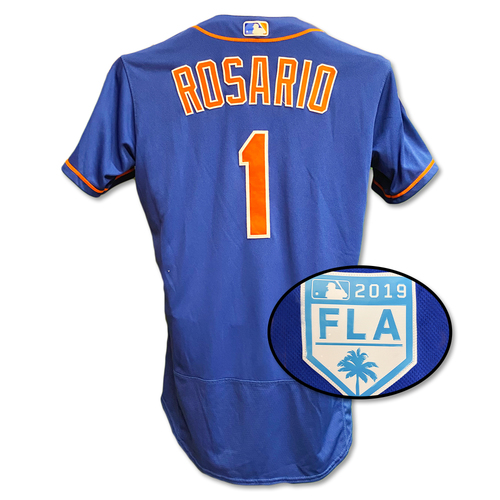 Photo of Amed Rosario #1 - Team Issued Blue Alt. Home Jersey - 2019 Spring Training