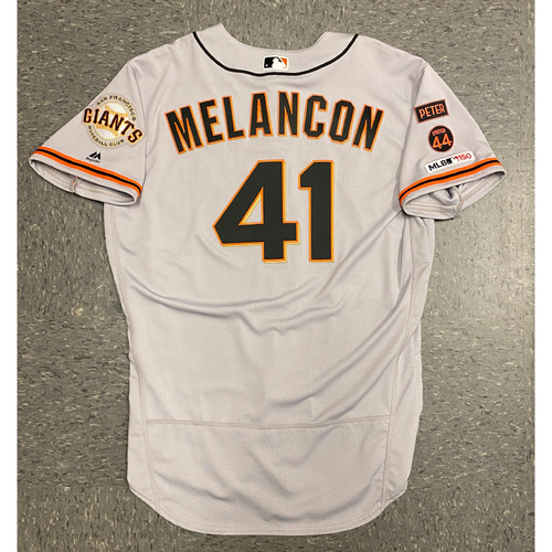 Photo of 2019 Game Used Road Opening Day Gray Jersey worn by #41 Mark Melancon on 3/28 @ San Diego Padres - Size 48