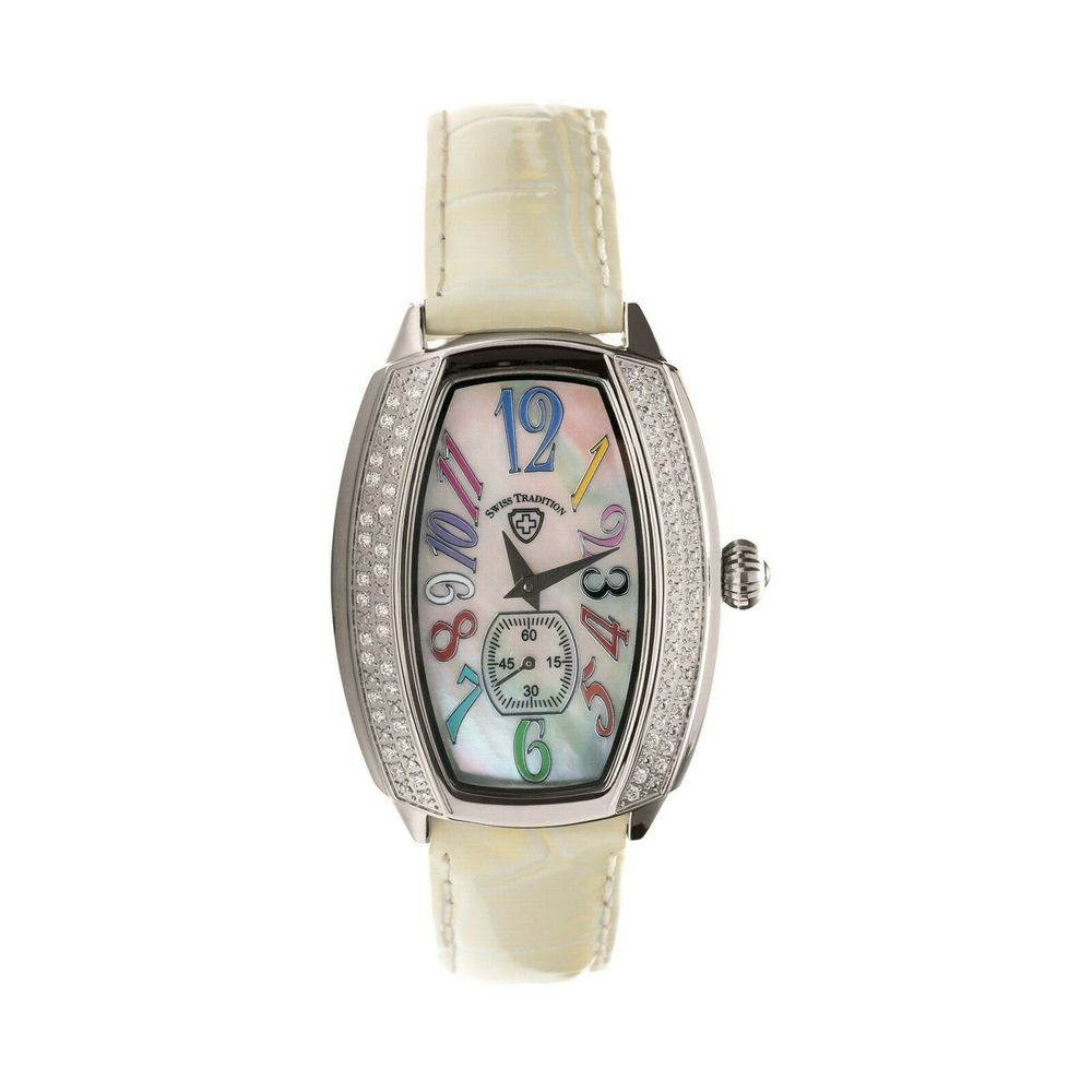 Photo of Swiss Tradition Tonneau Crystal Accented White Leather Strap Watch