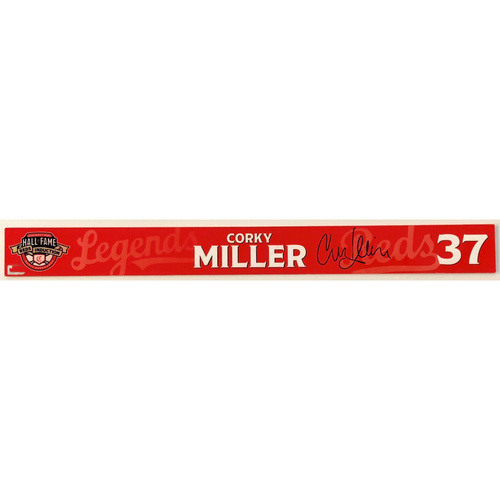 Photo of Corky Miller - Game-used and Autographed Locker Name Plate: 2021 Cincinnati Reds Hall of Fame Legends Game