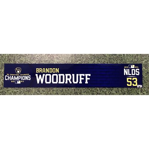 Photo of Brandon Woodruff 2021 Game-Used NLDS Locker Nameplate