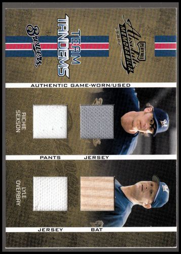 Photo of 2005 Absolute Memorabilia Team Tandems Swatch Double #73 Richie Sexson Jsy-Pants/Lyle Overbay Bat-Js