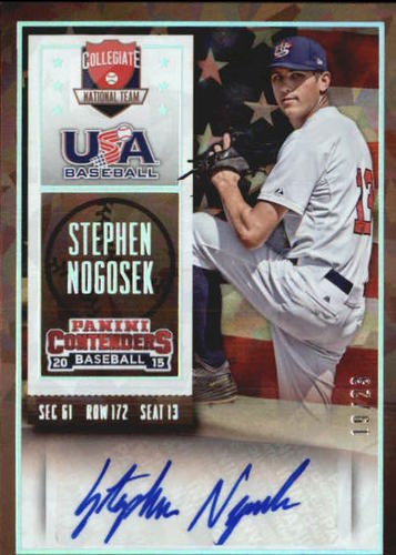 Photo of 2015 Panini Contenders USA Baseball Ticket Autographs Cracked Ice #54 Stephen Nogosek