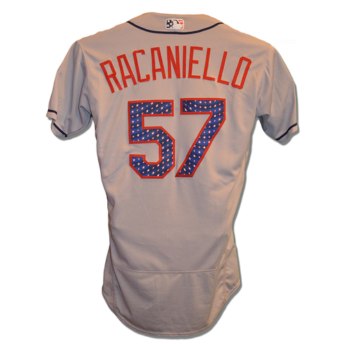 Photo of Dave Racaniello#57 - Game Used 4th of July Jersey - Mets vs. Blue Jays - 7/4/18
