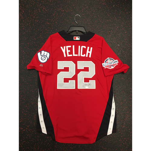 Photo of Christian Yelich 2018 Major League Baseball Workout Day Autographed Jersey