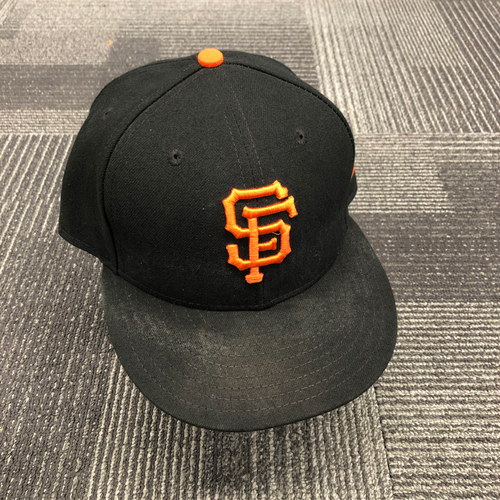 Photo of 2018 Game-Used Regular Season Cap worn by #16 Aramis Garcia on 9/30 vs. Los Angeles Dodgers - Size 7 1/2