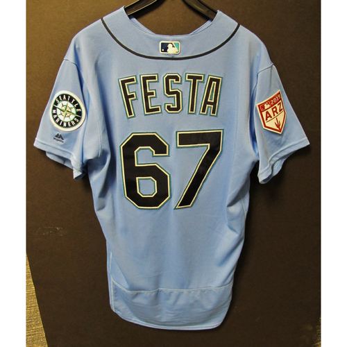 Photo of Matt Festa Game Used Light Blue Spring Training Jersey 2019  Exhibition Game - SD @ SEA 3-26-2019