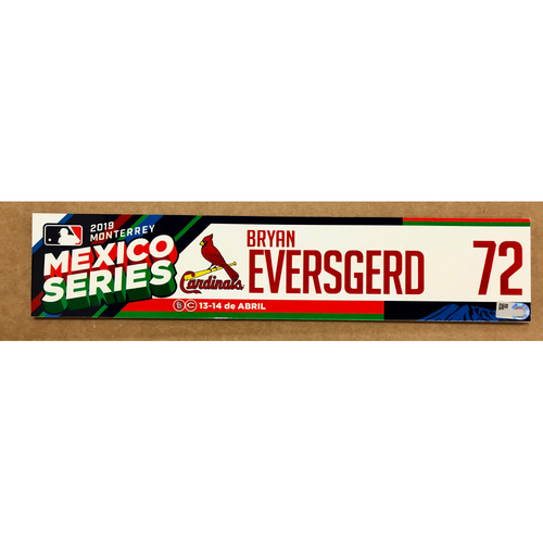 Photo of 2019 Mexico Series - Game Used Locker Tag -Bryan Eversgerd -  St. Louis Cardinals