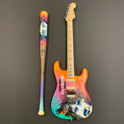 Photo of One-of-a-kind Artist-Painted Orioles Louisville Slugger Bat and Fender Stratocaster Guitar