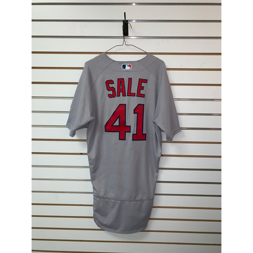 Photo of Chris Sale Game Used June 15, 2019 Road Jersey - Third Win of the season, 10 Ks