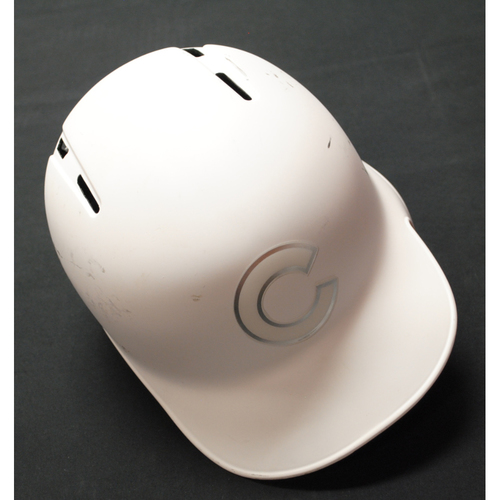 "Photo of Jonathan ""LUC"" Lucroy Chicago Cubs Game-Used 2019 Players' Weekend Helmet"