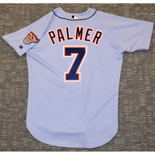 Photo of Dean Palmer Detroit Tigers #7 Road Jersey with Comerica Park Inaugural Season Patch (NOT MLB  AUTHENTICATED)