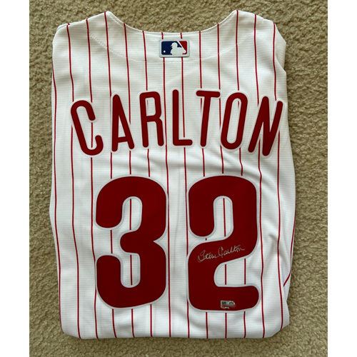 Photo of Steve Carlton Autographed White Phillies Replica Jersey
