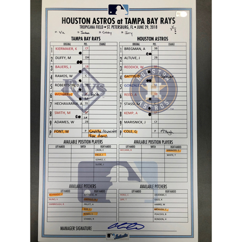 Photo of Game Used Lineup Card: Wilmer Font (5.0IP, W, 3 SO, 1 H) and Alex Bregman Home Run (15) - June 29, 2018 v HOU