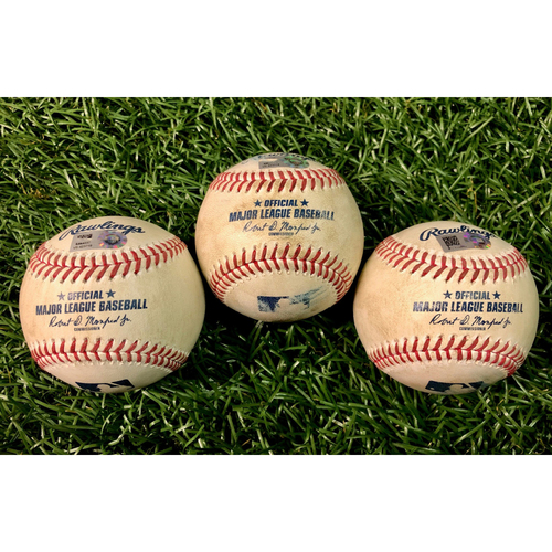 Photo of Game Used Baseball Package: Rafael Devers, Alex Verdugo and Jonathan Arauz - August 4-5, 2020 v BOS