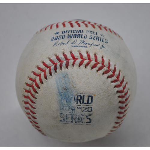 Photo of Game-Used Baseball - 2020 World Series - Tampa Bay Rays vs. Los Angeles Dodgers - Game 6 - Pitcher: Julio Urias, Batter: Manuel Margot (Foul) - Top 9